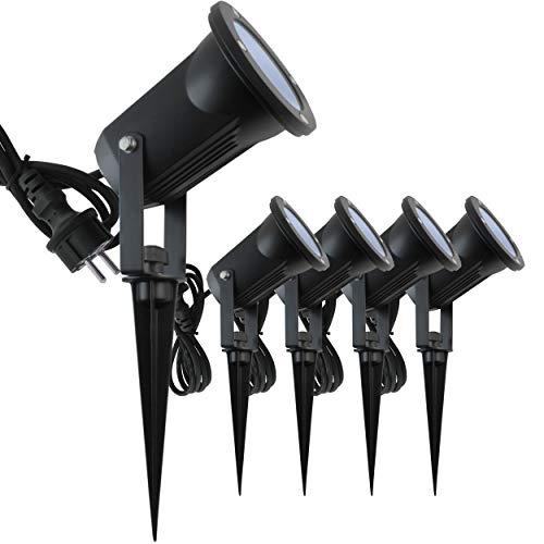 5x Evolution LED Gartenstrahler mit Erdspieß inkl. 4W GU10 2700K IP65, Gartenbeleuchtung, Wegbeleuchtung, Außenleuchte, Gartenlampe, Gartenleuchte, warmweiß, Spritzwasser geschützt, mit Anschlußkabel…
