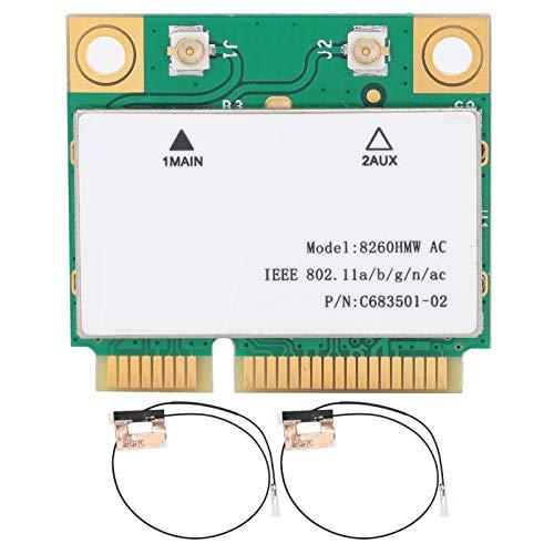 Tarjeta de Red de Banda Dual Tarjeta de Red Inalámbrica 2.4G / 5G Gigabit 8260HMW 802.11AC Mini PCI-E BT4.2 + 2 Antena