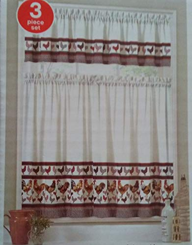 """Rooster Design Kitchen Curtain Set, 3-pc Tiers & Valence, Brown Red Houndstooth, 60"""" Wide"""