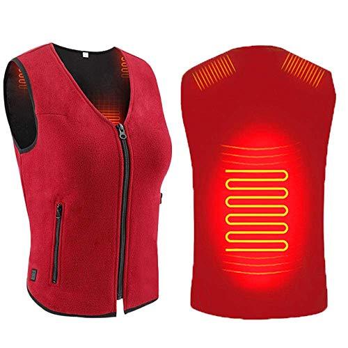 GFYWZ Vestiti riscaldati elettrici USB Rossi per uomo/Donna, Giacche riscaldate USB lavabili leggere con 1 Zona di riscaldamento e 3 livelli di Temperatura, Gilet intelligente XXL riscaldato per