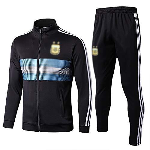ZH~K Traje de entrenamiento de fútbol para adultos y jóvenes, sudadera de manga larga para correr, transpirable, parte superior y pantalones para hombre QL0206 sudaderas (color: negro, tamaño: S)