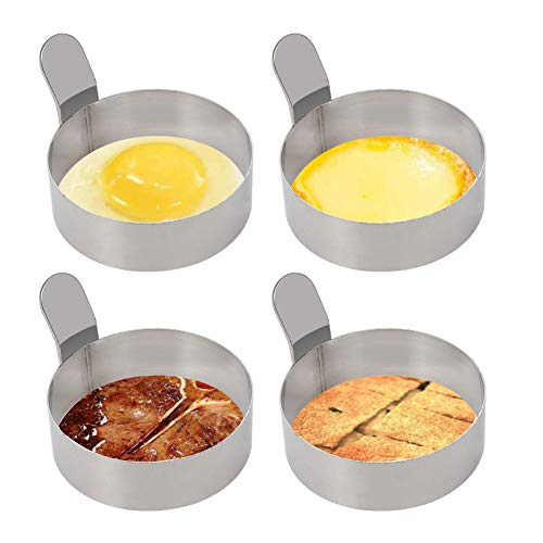 Small Size Siver Hemoton 2 Pcs Stainless Steel Egg Ring Nonstick Omelet Mold Handle Pancake Molds Kitchen Gadget for Hotel Restaurant Home