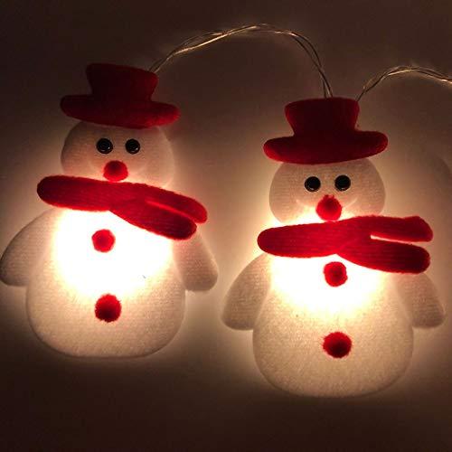 RENJIA IHGWE - Guirnalda de 10 luces LED con diseño de muñeco de nieve para árbol de Navidad, jardín, terraza, interior y exterior, luz blanca cálida, funciona con 2 pilas AA