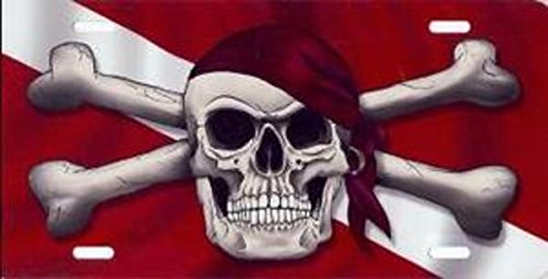 Advanced Graphics Pirate Skull on Dive Flag License Plate Dive Flag License Plate