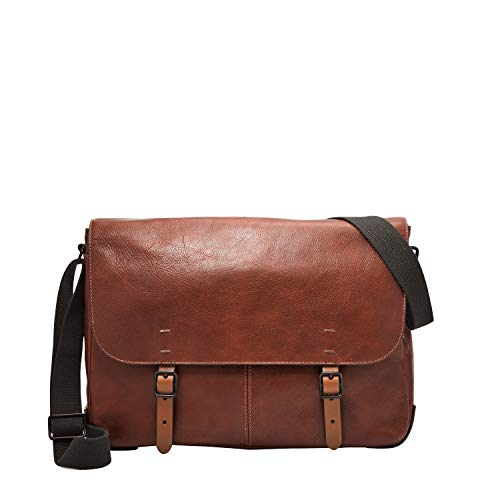 Fossil Men's Buckner Leather Messenger Bag, Cognac, One Size
