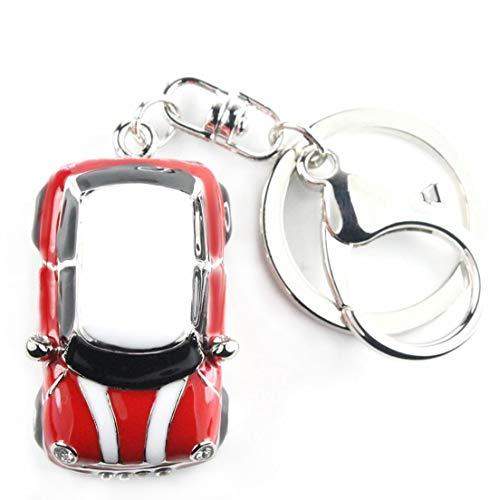 Quadiva Bag Charm Car Auto Mini Taschenanhänger für Damen (Farbe: Silber/rot-weiß) mit Kristallen besetzt