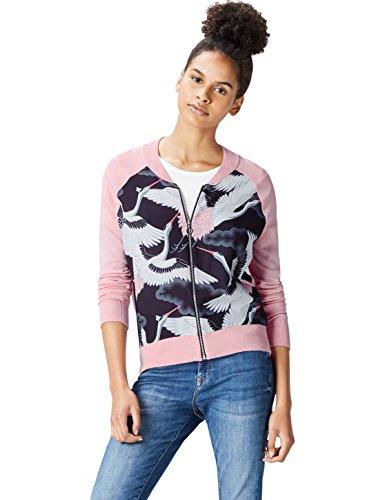 find. Jacke Damen Bomberjacke mit Vogel-Print und Rippenbündchen Rosa (Pink), 44 (Herstellergröße: XX-Large)