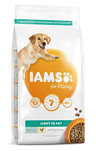 IAMS for Vitality Light in Fat Adult Dog Food with Fresh Chicken, 2kg