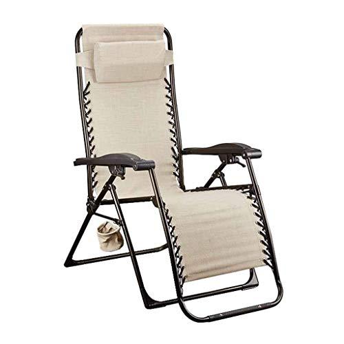 LDM Sillón reclinable Plegable Textilene Sillón Relax Sillas de terraza de Gravedad Cero Jardín Playa Gris con portavasos Color Crema