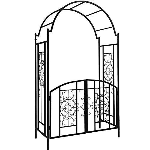OUTOUR Elegant Garden Arch with Gate, Garden Arbor Trellis Arbour Archway for Climbing Plants Roses Vines Support Rack, Outdoor Garden Lawn Backyard Patio, Matte Black …