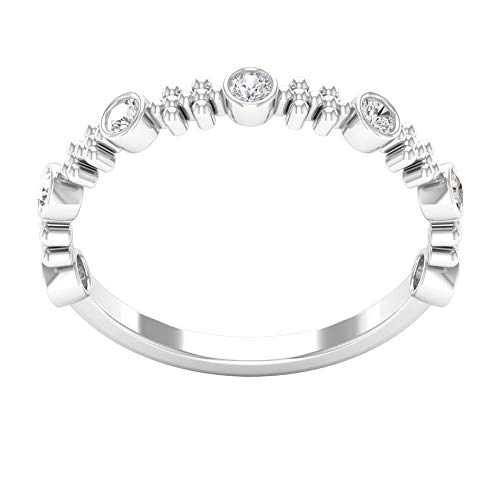 Anillo de diamantes certificado SGL de 0,21 ct, minimalista con cuentas grabadas, anillo de oro, promesa de dama de honor, anillo de compromiso único para mujeres, 14K Oro blanco, Size:EU 62