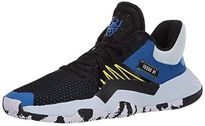 adidas Kids Unisex's D.O.N. Issue #1 Basketball Shoe, core Black/Glory Blue/Shock Yellow, 6.5 M US