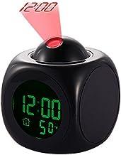 Yosoo Led-projector, wekker, multifunctioneel, digitaal temperatuurdisplay, voice talking, projectieklok, 12/24 uur, omges...