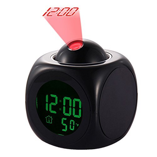 Yosoo LED Projektor Wecker Multifunktions Digital Temperatur Display Voice Talking Projektion Uhr 12/24 Stunden umgeschaltet Home Decor