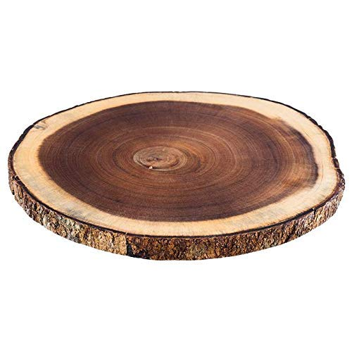 "APS Rindenholzbrett ""Natura"", Akazienholz mit Rinde, ca. 30 x 28,5 x 2 cm, Präsentationsbrett, Schneidebrett, Dekobrett für Buffets, jedes Brett ein Unikat, Baumscheibe, Naturprodukt, Holzbrett, Braun"