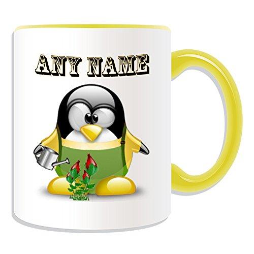 UNIGIFT gepersonaliseerd geschenk - tuinman met gieter mok (Penguin in kostuum ontwerp thema, kleur opties) - elke naam/boodschap op uw unieke - pot bloem