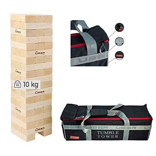 Ubergames Giant Wackelturm Spiel aus Eco Holz - Neu 2021 -Top Qualität Stapelturm - bis 90 cm Groß - in sehr Luxus Trage Tasche - Made in India - Eco Holz