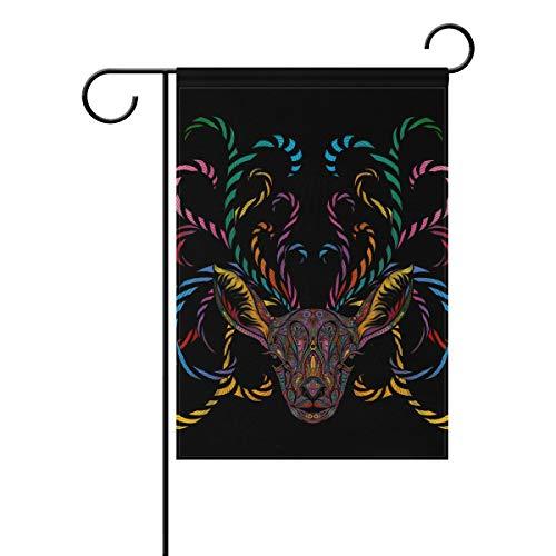 JIRT Jardin Drapeau 30,5 x 45,7 cm (30,5 x 45,7 cm) Abstrait coloré Renne Cornes Polyester Banner Double Face pour intérieur ou extérieur pelouse Cour Décoration, Image 199, 28x40(in)