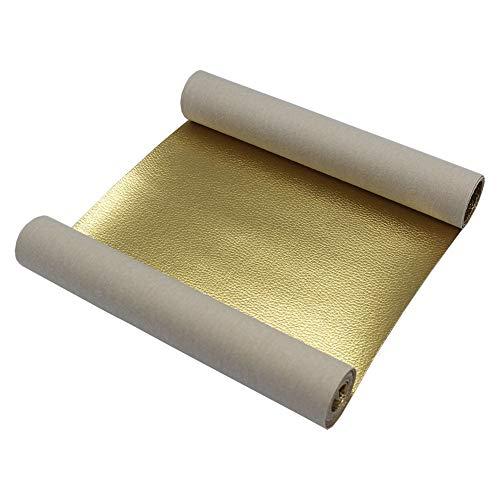 Airoads kunstlederen vellen 8 x 47 inch Litchi patroon kunstleer PU leder stof bladen voor bank reparatie naaien knutselen doe-het-zelf projecten goud