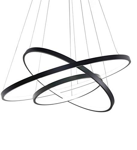 Lámpara de techo moderna LED de 65 W, moderna iluminación de techo de 3 anillas, lámpara de techo regulable en altura, regulable en luz natural cálida fría con mando a distancia