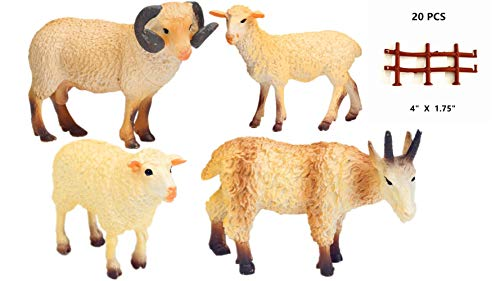 YUCAN Farm Animals Figures Toys Sheep Goats with Corral Fence Toys Playset, Cake Top, Safari Party...