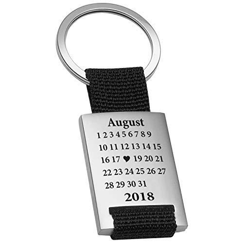 Schlüsselanhänger Schönster Tag mit Gravur Datum - Ich Liebe Dich Geschenk Valentinstag für Freund, Freundin, Männer, Frauen