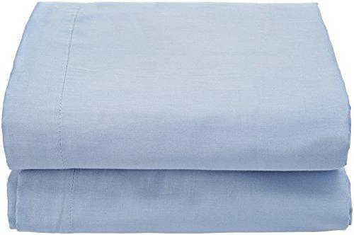 ESSIX Drap de lit uni, Satin de Coton, Bleu de Provence, 180x290 cm