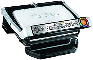 TEFAL Optigrill Plus Indoor Electric Grill with Snacking and Baking accessory, 2000 Watts, Silver, Stainless Steel, GC715D28