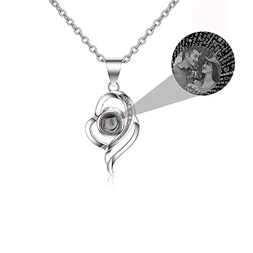 LuBHnna Collana da proiezione Personalizzata Ti Amo in 100 Lingue Collana con Nome e Foto Personalizzata Collana in Argento Sterling 925 Gioielli Personalizzati per Donna