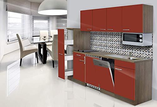 respekta Einbau Single Küche Küchenblock 225 cm Eiche York Nachbildung Rot Mikrowelle Ceran