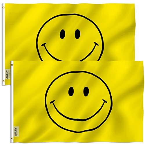 Anley 2er Pack Fly Breeze 3x5 Fuß gelbe Smiley-Flagge - Lebendige Farbe und UV-Lichtechtheit - Leinwandkopf und doppelt genäht - Happy Face Flags Polyester mit Messingösen 3 x 5 Ft
