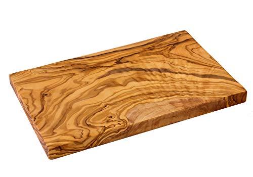 NATUREHOME massiv Olivenholz Schneidebrett eckig 35 x 18 x 2 cm M für Brotzeit zum Servieren und als Küchenbrett