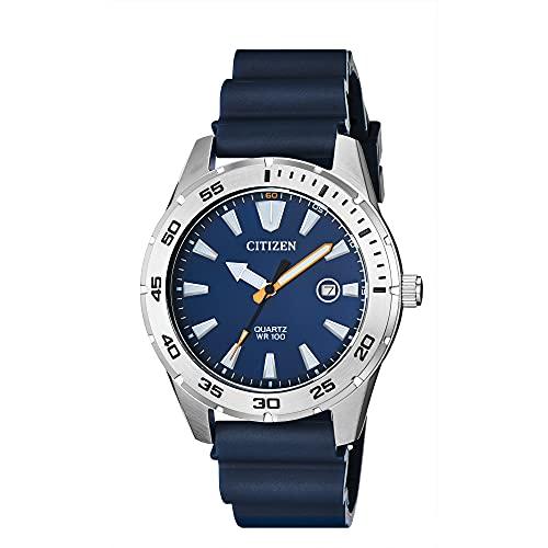 Citizen Reloj de cuarzo para hombre, acero inoxidable con correa de poliuretano, casual, azul (Modelo: BI1041-22L)