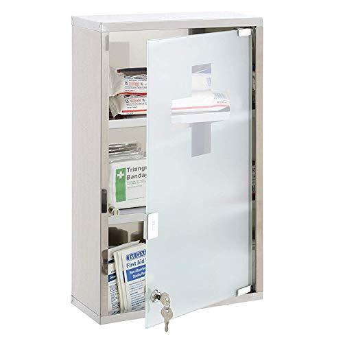 Bond Hardware® Medizinschrank aus Edelstahl, zur Wandmontage, mit Ablagen und Milchglas-Tür Modern 50 x 30 x 12cm beige