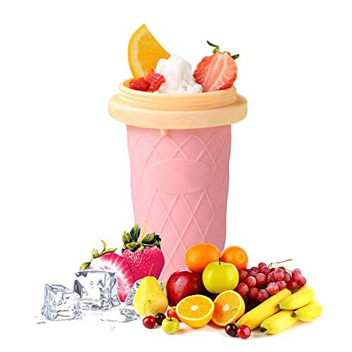opOpb213IL Slush and Shake Maker,Homemade DIY Ice Cream Maker Cup for Easy to Make Homemade Slushes, Milkshakes, Smoothies, Cocktails,Smoothie Mug Summer Fast Cooling Pink