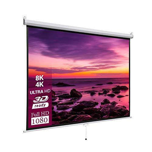 celexon Basic Heimkino- und Business manuell ausziehbare Rollo-Leinwand - einfache Montage und Bedienung - 200 x 200cm - 1:1