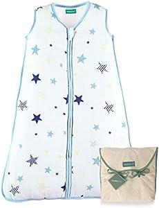 molis&co. Saco de Dormir para bebé. Ideal para Verano. 18-36 Meses. 0.5 TOG. Súper Suave y Ligero. Estampado de Estrellas en Tonos Azules y Beige. Unisex. Muselina Premium.