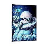 DRAGON VINES Póster de Sans Skele Undertale Cool Blue Judgment Eye Art Póster ideal para habitación de niñas 50 x 75 cm