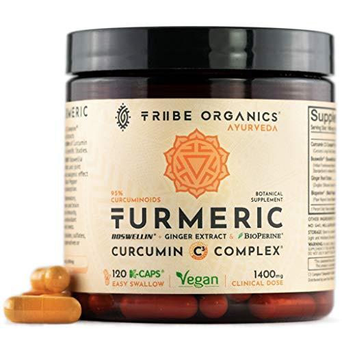 Turmeric Curcumin C3 Complex -120 Vegan Capsules - 95% Curcuminoids - with Boswellia, Ginger & Bioperine Black Pepper Absorption Enhancer - Mood Support Inflammation Joint Health