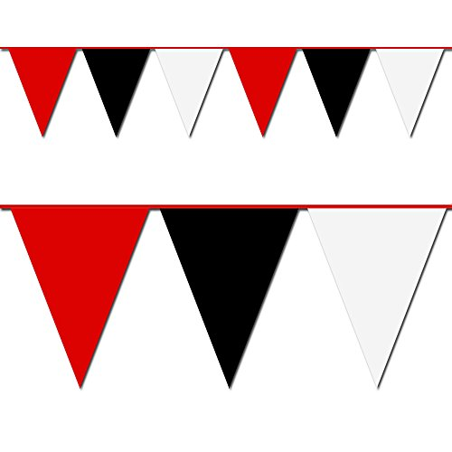 Hughes Manufacturing Red, Black and White Triangle Pennant Flag 100 Ft.