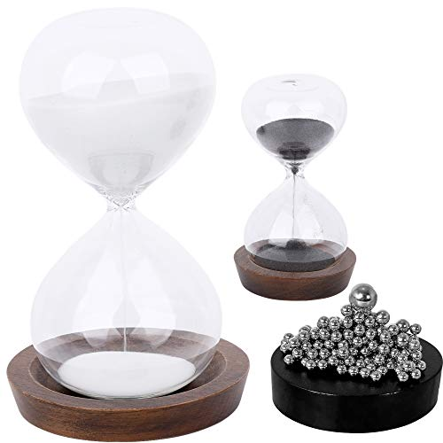Sand Hourglass Timer Hour Glass– with Magnetic Balls Desk Toy Sculpture – 30 min and 5 Minute Sand Clock for Office, Home, Desk Decor (Black and White)