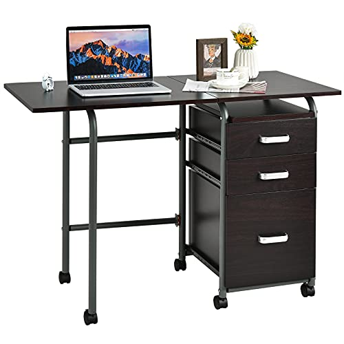 Tangkula Folding Computer Desk with 3 Storage Drawers, Mobile Home Office Desk Study Writing Desk with Smooth Wheels, Space Saving Compact Desk for Dorm Apartment, Folding Desk Table (Brown)