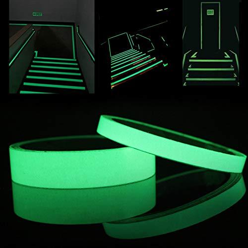 WFire 2 Stück Fluoreszierendes Klebeband Selbstklebendem Band Markierungsband Luminous Tape Wasserdichtes Stage Warnband 2CM×5M 1CM×5M