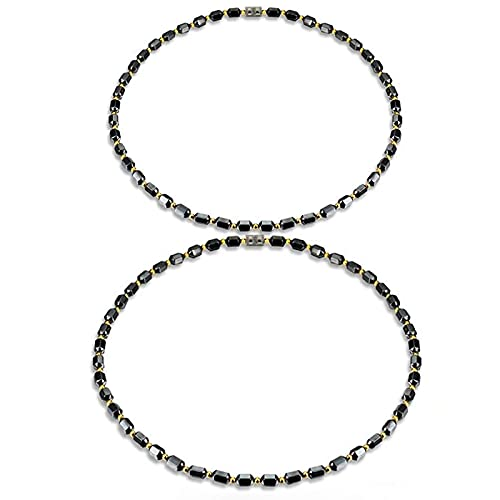 Magnetic Hematite Necklace for Men, Hematite Necklace That Absorbs Negative Energy, Naturally Reduces Arthritis in The Neck, Shoulder (2pcs)