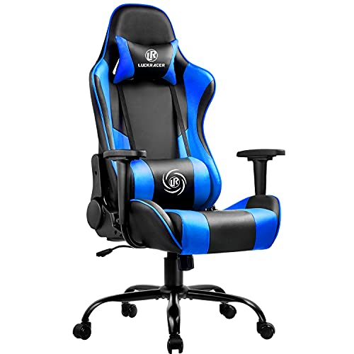 LUCKRACER Gaming Chair Ergonomic Desk Chair Racing Style Office Computer Chair With High Back Support 360° Swivel 150° Reclining Rocking Function For Children, Teenagers And Adults - BLUE