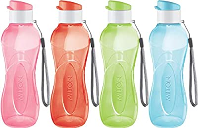 Sports Water Bottle - Milton Kids Reusable Leak-proof 25 oz 4 Set Plastic Wide Mouth Large Big Drink Bottle BPA & Leak Free With Handle Strap Carrier For Cycling Camping Hiking Gym Yoga