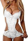 QJHDO Ropa Erótica Body De Encaje con Arnés Sexy para Mujer Conjunto De Lencería Sexy Sexy Sheer Sleepshirt-White_XXL