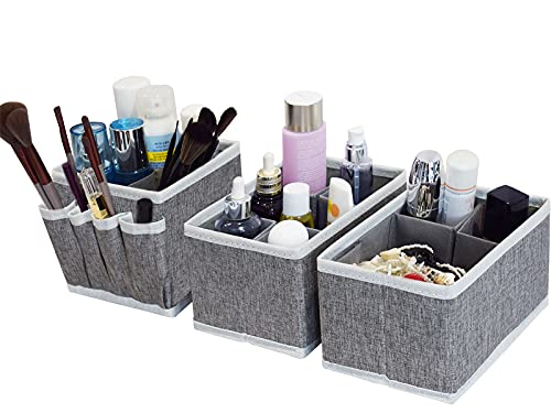 Drawer Organizer Bins, Adjustable Multifunction Cosmetic Storage Bins for Makeup Brushes,Bathroom Countertop or Dresser,Set of 3(Grey)