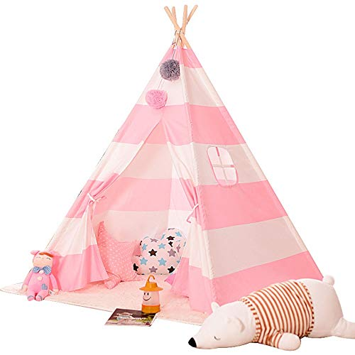 Teepee for Kids Navy And White Stripe Teepee Tent Foldable Children Playhouse Toys For Baby Indoor And Outdoor Playing 4 Wooden Pole Tipi Multi-color Optional Toys for Indoor and Outdoor