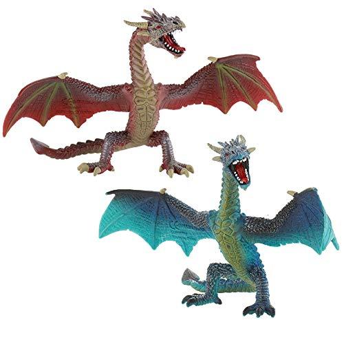 Zauberwald Bullyland - Drachen - 75592 Drache fliegend türkis & 75591 Drache fliefend rotbraun